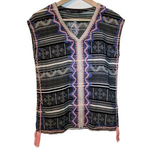 THML Embroidered Sleeveless V-Neck Top